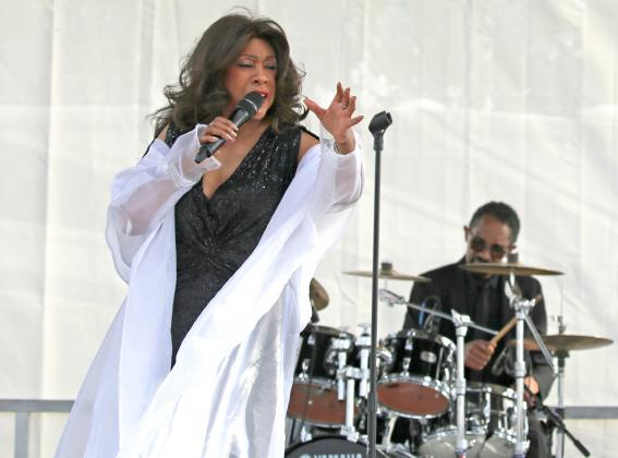 NEWS-GAZETTE PHOTO/NANCY BRIGHAM   Mary Wilson, formerly of the famed singing group, The Supremes, performs on stage at Lakefront Park.