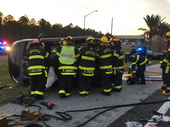 Osceola County Fire Rescue works the fatal traffic crash on State Road 429 on Tuesday. PHOTO/OSCEOLA COUNTY FIRE RESCUE