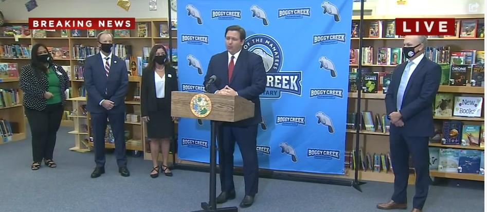 Gov. Ron Desantis speaks during a press conference at Boggy Creek Elementary School. PHOTO/WFTV