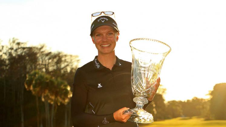 Madelene Sagstrom of Sweden poses with the trophy after winning the Gainbridge LPGA at Boca Rio on January 26, 2020 in Boca Raton. Photo:Mike Ehrmann/Getty Images