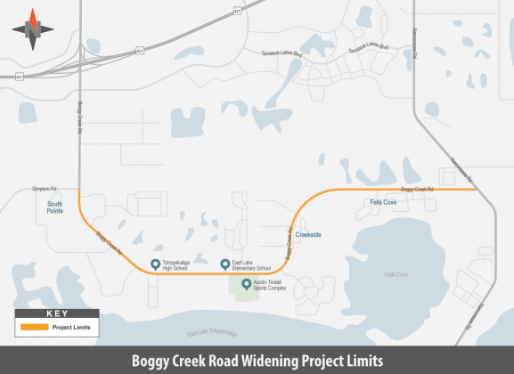 Map of Boggy Creek Road project