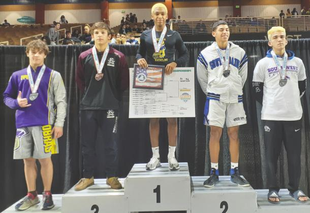 After finishing second in both his freshman and sophomore seasons, Osceola's Jaekus Hines reached the top of podium in 2020, winning the Class 3A, 132-pound title. SUBMITTED PHOTO